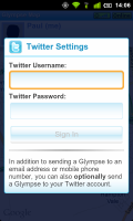Glympse Can post location to Twitter