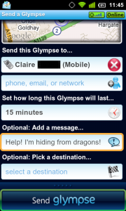 Glympse Sending to Mobile phone