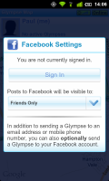 Glympse can post location to Facebook