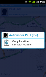 Glympse let you copy your location to clipboard.