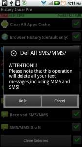 History Eraser - Deleting all messages warning