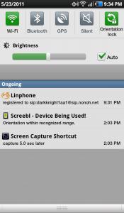 Linphone Status Bar
