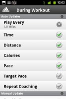 MiCoach Workout Settings