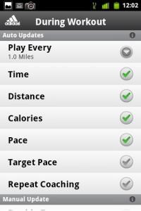 MiCoach Workout Settings