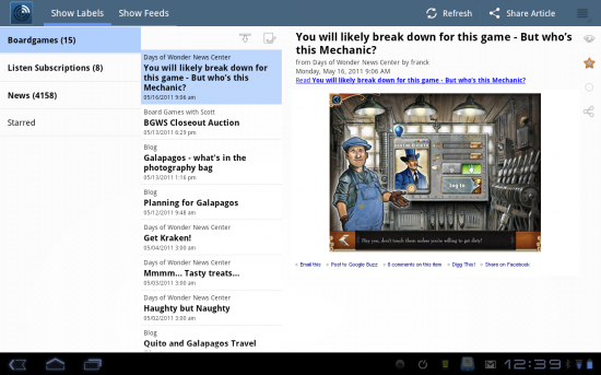 Newsr, a Great Android App for Google Reader RSS Feeds on Android Tablets