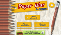 Paper War for 2 Players Title Screen