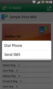 SPB Wallet - Tap numbers to dial or SMS