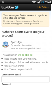 Sports Eye Soccer Twitter authorisation for sharing