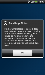 Stitcher Data Warning