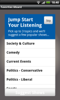 Stitcher Easily create a favourites list.