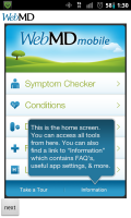 WebMD Home Screen