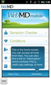 WebMD Home Screen