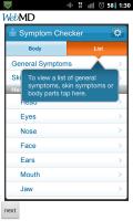 WebMD Symptom List