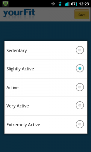YourFit Activity Level