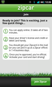 Zipcar Join and Info Page