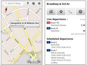 Google Maps Mobile Live Transit