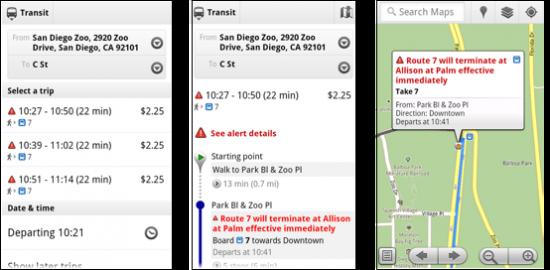 Google Maps Mobile Live Transit Times