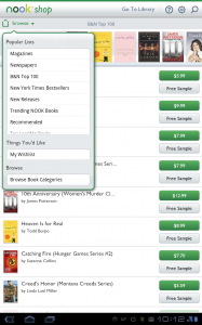 Nook for Android Shopping Categories