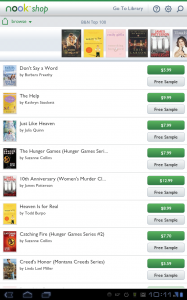 Nook for Android Shopping View