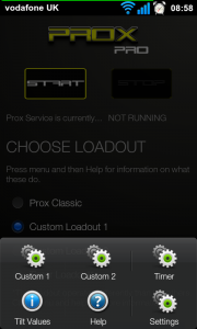 Prox Pro - Main Screen with menu