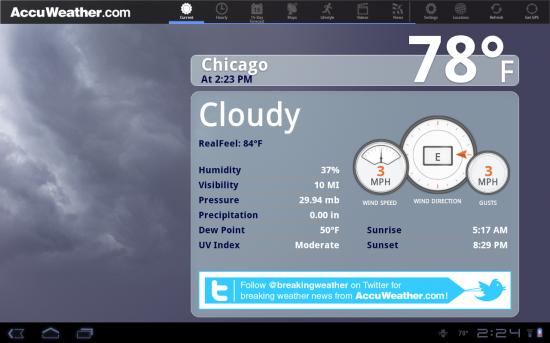 Samsung Galaxy Tab 10.1 Accuweather