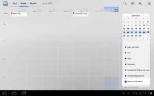 Samsung Galaxy Tab 10.1 Calender