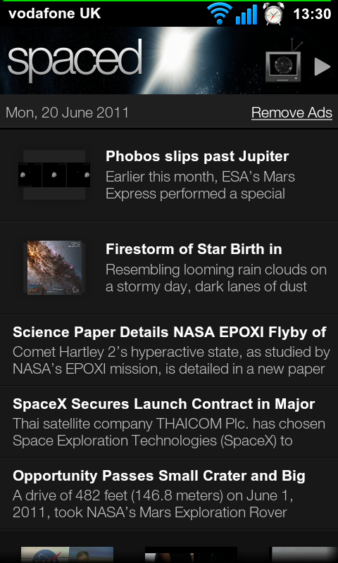 Spaced, an Astronomy News Android App
