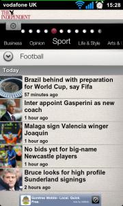 The Independent - Football sub-heading headlines.