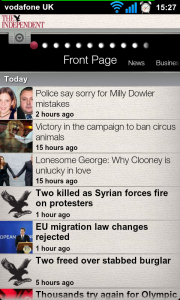 The Independent - Front page headlines list.