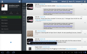 Tweetcaster HD Main Screen