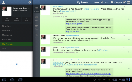 TweetCaster HD – Easy to use Twitter Client for Honeycomb!