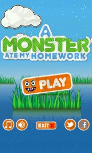 A Monster Ate My Homework - Main menu