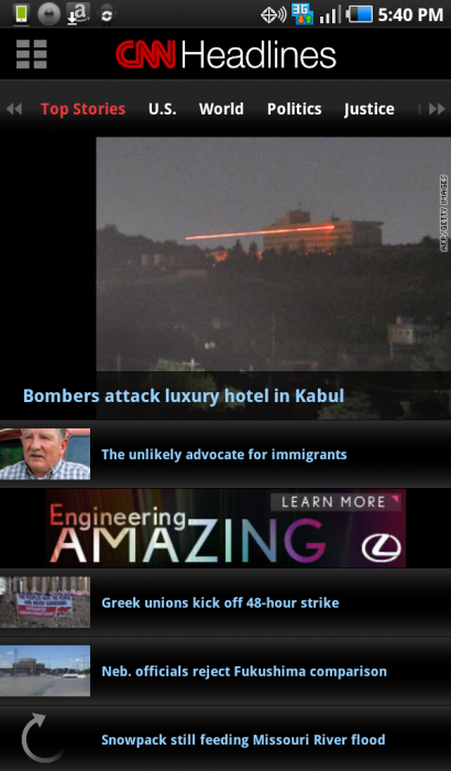 CNN for Android Phones & Tablets. An Excellent International News Application