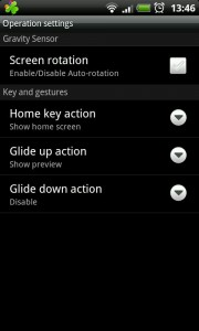 GO Launcher EX - Operation settings.