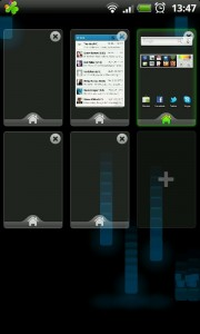GO Launcher EX - Pinch to see homescreens, add as many as you like.