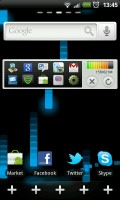 GO Launcher EX - Scrolling dock with empty slots for new shortcuts.