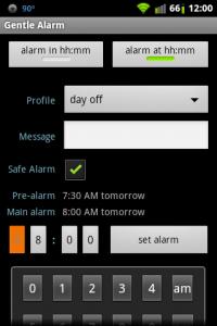 Gentle Alarm Profile Settings