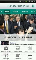 Huffington Post - Home page with menu
