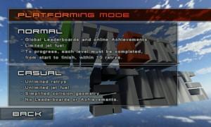 Jet Car Stunts Lite - Platforming mode selections