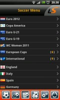 LiveScore - Soccer menu