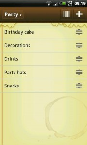 Out of Milk - Created party list.