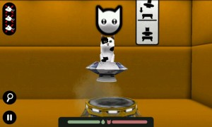 pacecat (3D) - In-game. land safely on the yellow launcher to complete level.