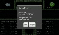 Touchy Words - Game over screen with summary
