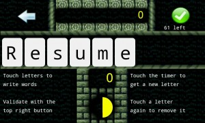 Touchy Words - Pause screen