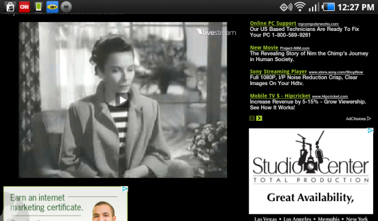 Web TV for Android. Not really an App but Bookmark to Video Streaming Website