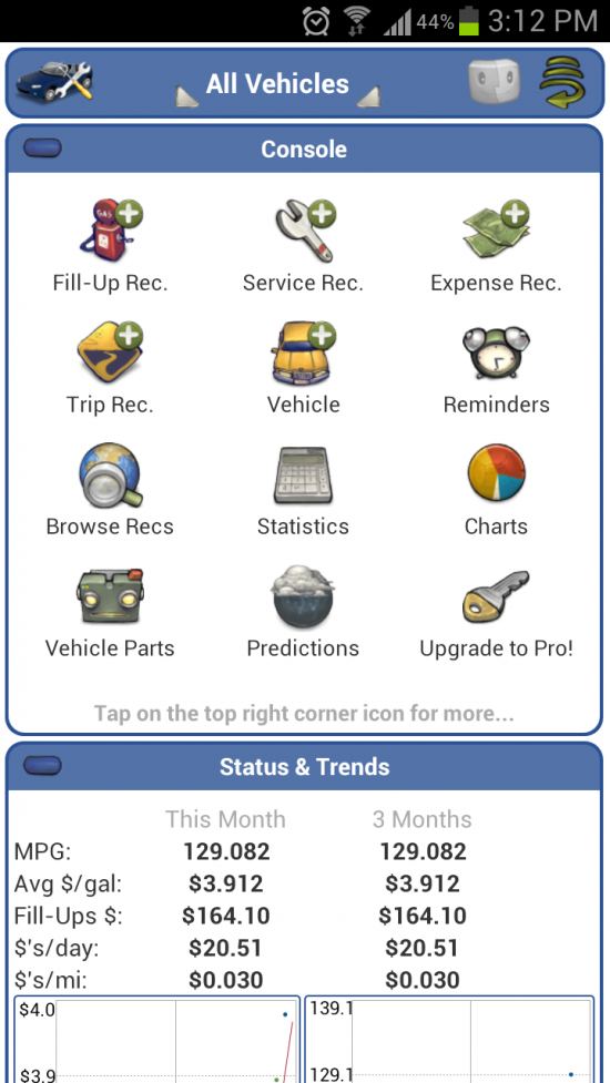 aCar – a Feature Packed Car Maintenance Application