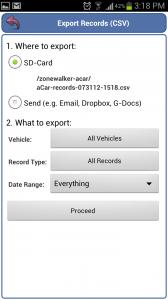 aCar Export Options