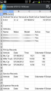 aCar Export to Excel CSV