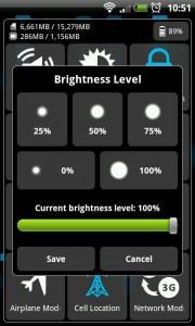 MySettings - Brightness level setting