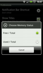 MySettings - Choose memory status settings